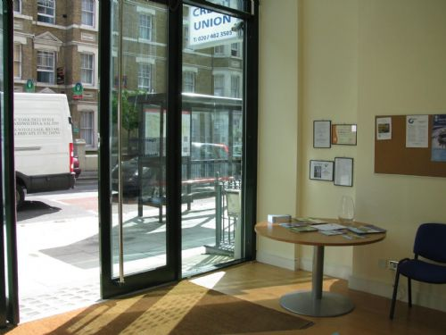 The welcoming foyer of the Camden Plus branch