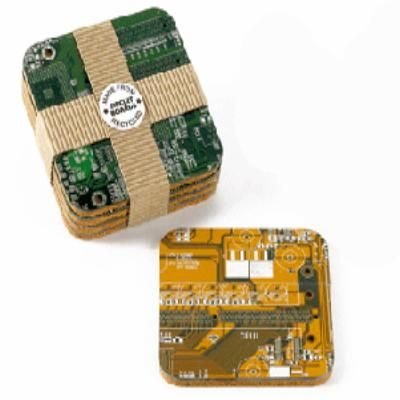 Coasters made from recycled circuit boards