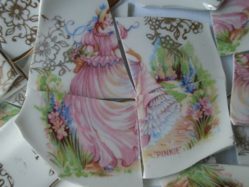 Gold Chintz Floral/Crinoline Lady Broken China Shards/Tiles for Mosaic/crafts