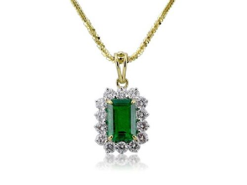 Emerald & Diamond Drop Pendant