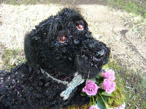 Bruno,a black lab inb flowers,funeral sculpture.