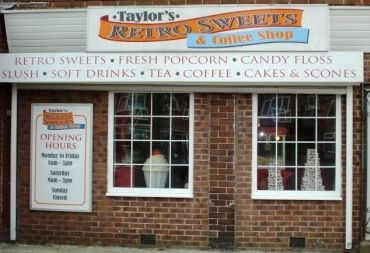 Taylors retro sweets shop front.