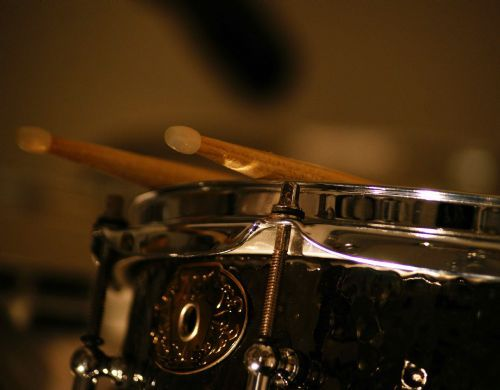 The studios Ludwig Black Beauty snare and DW collectors series maple kit.