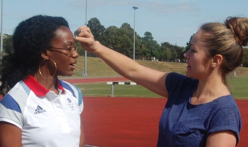 Carey working with Abi Oyepitan during 2012 Olympics