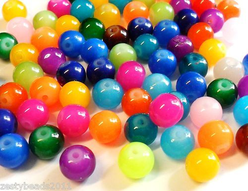 Colourful Imitation Jade Glass Beads