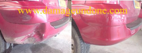 Peugeot dented bumper before and after.