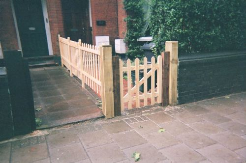 Inexpensively constructed but stylish front gate and fence