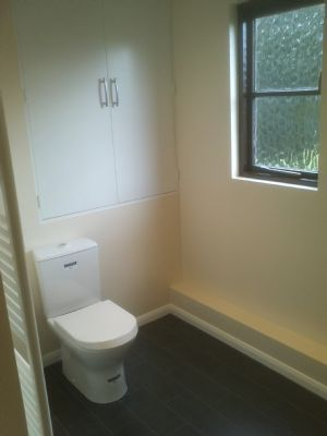 After - another green toilet + bidet gone! and a nice new cupboard.