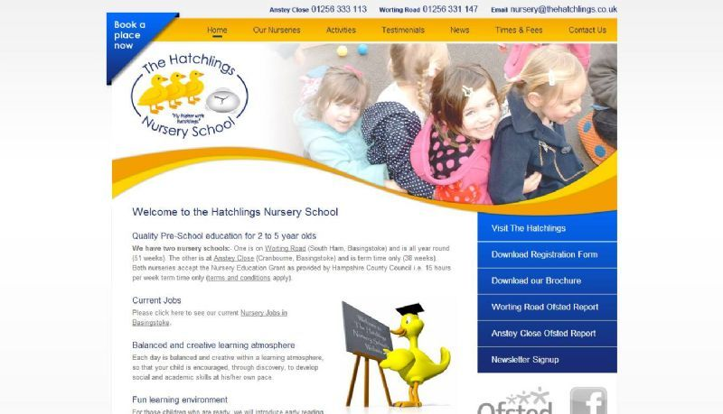 The Hatchlings Nursery School Website and Logo Design