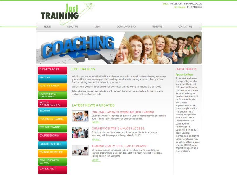 Just Training Website Design