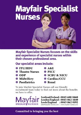 Full page, A4 Ad for a nursing recruitment agency.