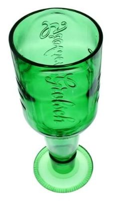 Beer glass made from recycled Grolsch bottle