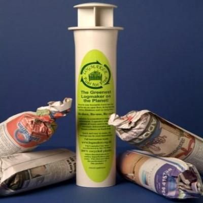 Log Maker made from recycled plastic turns newspaper into free fuel - no mess