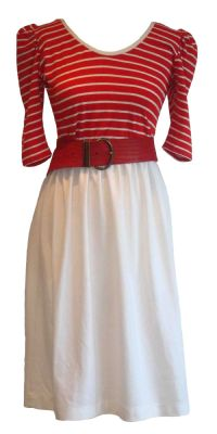 1970's red and white day dress.