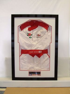Motor racing suit framed.