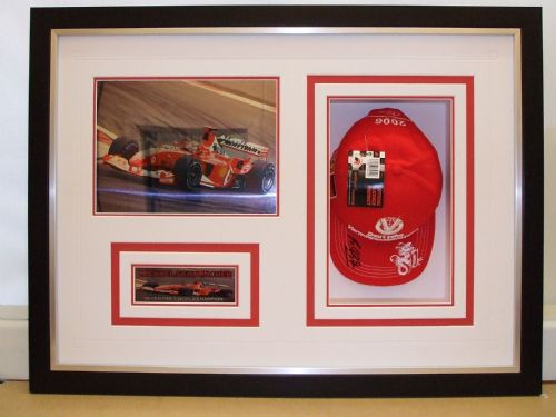 Schumacher's cap framed.