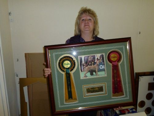 Crufts winner wth framed rosettes