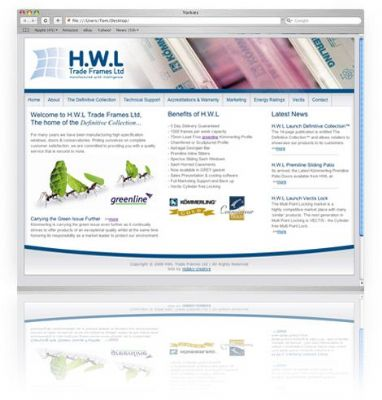 website for Window manufacturer HWL Trade Frames