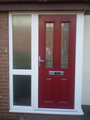 Red Composite Door and side light