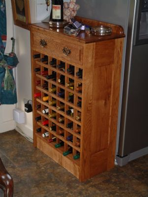 Oak wine rack with draw