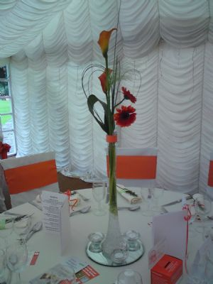 Charity Ball table design (burnt orange theme)