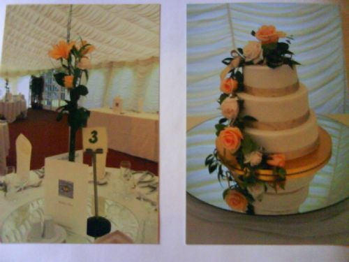Table and cake flowers