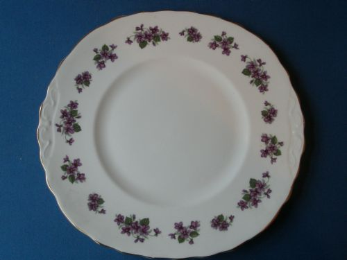 Queen Anne Violets Cake Plate