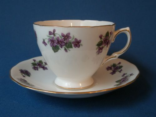 Queen Anne Violets Teacup and Saucer