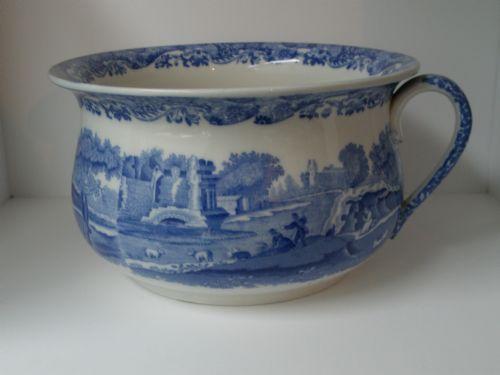 Vintage Copeland Spode Blue Italian Chamber Pot/Planter