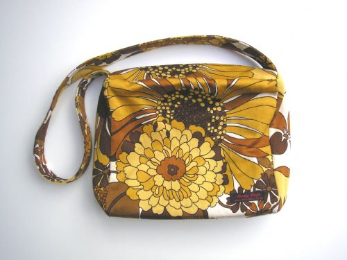 """Bag made with Genuine Vintage satin """"Avalon""""with brown & mustard flower print"""