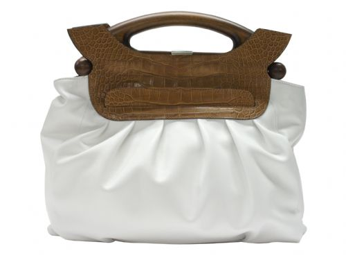 White and Brown Italian leather handbag