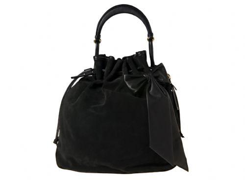 Black suede Italian handbag