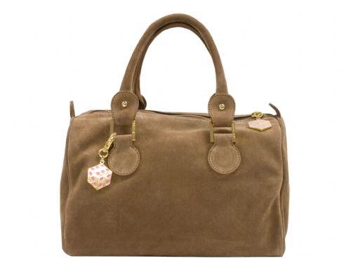 Beige suede Italian handbag