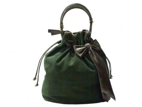 Green suede Italian handbag