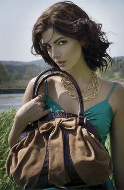 Brown Italian leather handbag