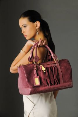 Pink leather Italian handbag
