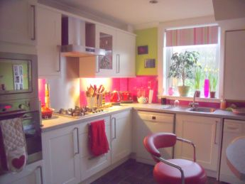 PREVIOUS WORK SHAKER GLOSS WHITE BAUMATIC APPLIANCES PINK SPLASHBACK
