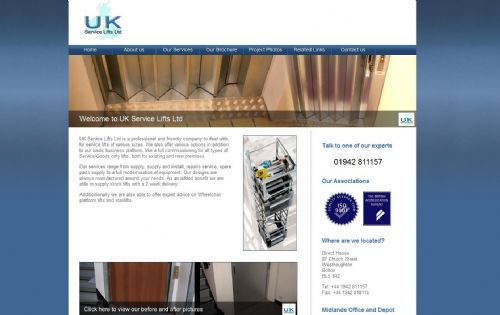 UK Service Lifts - Web Design