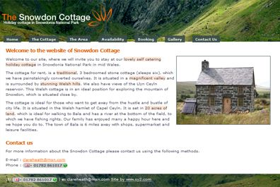 Web Design for Snowdom Cottage