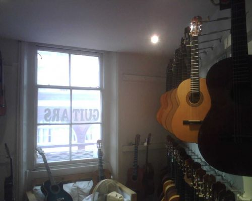 Guitars are on two floors