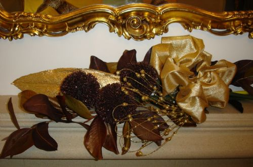 Fireplace in bronze and gold