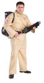 Fancy dress ghostbusters costume.