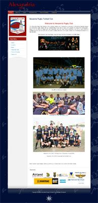 Website design alexrugby.com Expatriate Rugby Football Club in Alexandria Egypt