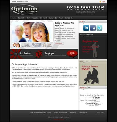 Website design optimumappointments.com