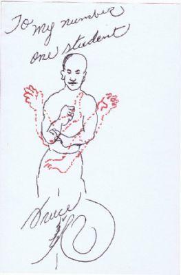 Bruce Lee autograph & sketch