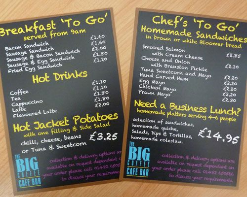 Leaflets produced for local cafe, The Big Coffee.