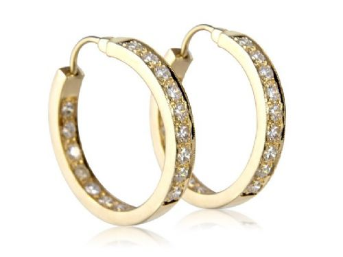 Diamond In & Out Set Hoop Earrings