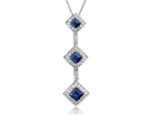 Sapphire & Diamond Trilogy Drop Pendant