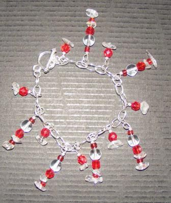 Red & Crystal silver plated charm bracelet