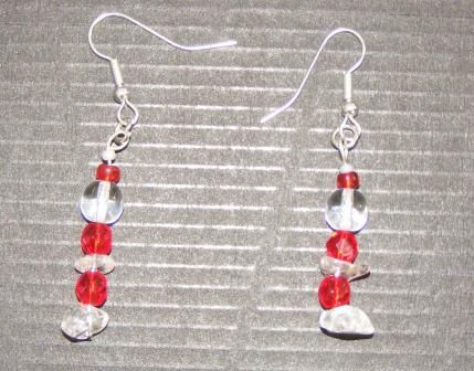 Red & Crystal silver plated earrings for pierced ears
